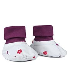 Nino Bambino Organic Cotton Roll Over Booties - Purple And White