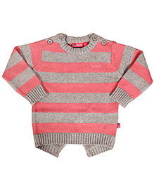 Buzzy Full Sleeves Stripe Cardigan - Pink Grey