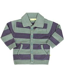 Buzzy Collar Neck Long Sleeves Striped Cardigan - Green Navy