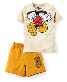 Disney by Babyhug T-Shirt And Shorts Set Mickey Mouse Print - Cream And Yellow