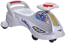 Fab N Funky Swing Car Sports Stlye - White And Grey - Carry Capacity Upto 30 Kg