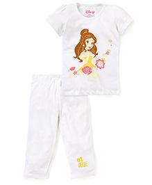 Disney by Babyhug Top And Capri Set Princess Print - White