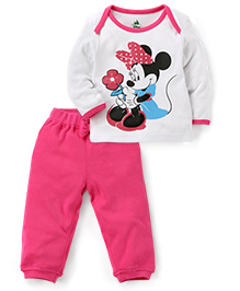 Disney by Babyhug Full Sleeves Top And Pant Set Minnie Print - Pink And White