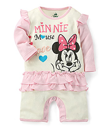Disney by Babyhug Full Sleeves Romper Minnie Mouse - Pink And Cream