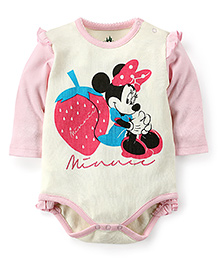 Disney by Babyhug Full Sleeve Onesies Minnie Print - Cream And Pink