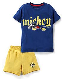 Disney by Babyhug Half Sleeves T-Shirt And Shorts Set Mickey Mouse Print - Blue