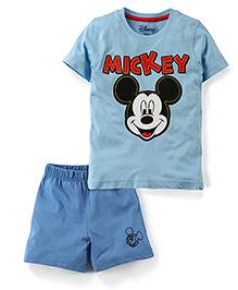 Disney by Babyhug T-Shirt And Shorts Set Mickey Print - Blue