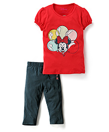 Disney by Babyhug Short Sleeve T-Shirt And Capri Set Minnie Print - Red