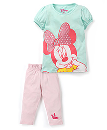 Disney by Babyhug Short Sleeve T-Shirt Pant Set Minnie Print - Blue Pink