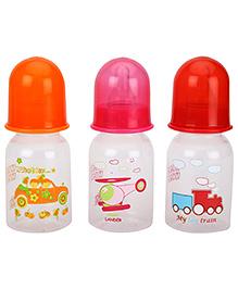 Mee Mee Premium Feeding Bottle 125 Ml Pack Of 3 - Orange Pink Red