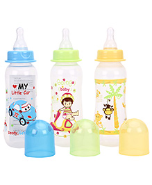Mee Mee Premium Feeding Bottle Pack Of 3 Blue Yellow Green - 250 Ml