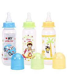 Mee Mee Premium Feeding Bottle Pack Of 3 Blue Yellow Green - 250 Ml