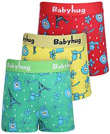 Babyhug Boxer Shorts Multi Print Set Of 3 - Red Green Yellow