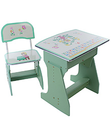 Kids Study Table With Chair Alphabet Print - Green