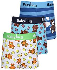 Babyhug Boxer Shorts Multi Print Set Of 3 - Blue White