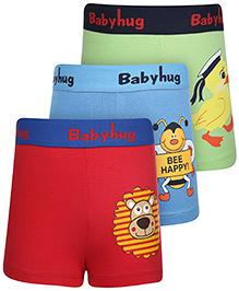 Babyhug Boxer Shorts Multi Print Set Of 3 - Blue Red Green