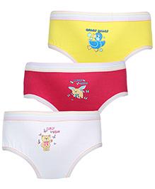 Babyhug Panties Multi Print Set Of 3 - Yellow Pink White