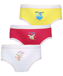 Babyhug Panties Multi Print Set Of 3 - Yellow Pink White