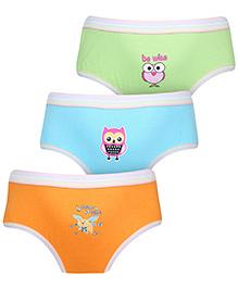 Babyhug Panties Multi Print Set Of 3 - Green Blue Orange