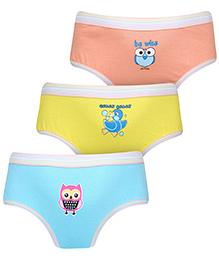 Babyhug Panties Multi Print Set Of 3 - Blue Peach Yellow