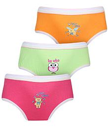 Babyhug Panties Multi Print Set Of 3 - Pink Green Orange
