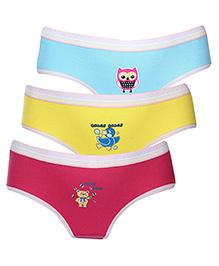 Babyhug Panties Multi Print Set Of 3 - Pink Blue Yellow