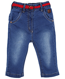 Little Kangaroos Denim Capri With Belt -  Light Blue