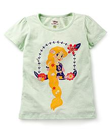 Disney by Babyhug Half Sleeves T-Shirt Princess Print - Light Green