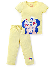 Disney by Babyhug Short Sleeve T-Shirt Capri Set Minnie Print - Yellow