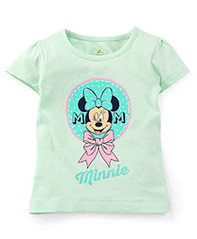 Disney by Babyhug Half Sleeves T-Shirt Minnie Print - Light Green