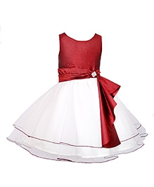 Little Darling Sleeveless Knee Length Party Dress Studded Detailing - Maroon