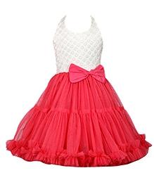 Little Darling Halter Neck Knee Length Party Dress Bow Applique - Pink