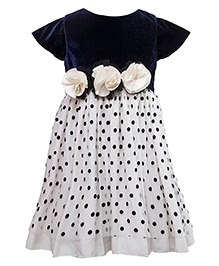 Little Darling Short Sleeves Knee Length Party Dress Floral Appliques - Black And White