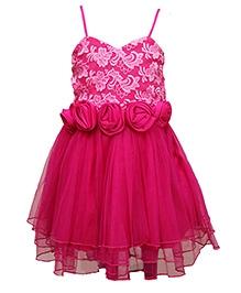 Little Darling Singlet Knee Length Party Dress Floral Appliques - Pink