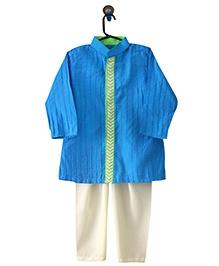 Little Men Blue With Tux Kurta Pajama Set