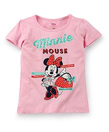 Disney by Babyhug Half Sleeves Top Minnie Mouse Print - Light Pink