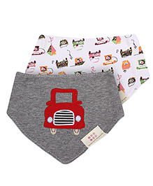 Mee Mee 2 In 1 Bib Car Embroidery Grey And Red - Pack Of 2