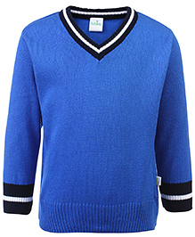 Babyhug Full Sleeves Contrast Color Neck Sweater - Blue