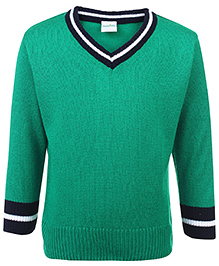 Babyhug Full Sleeves Contrast Color Neck Sweater - Dark Green