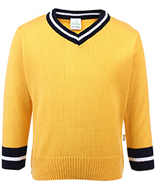 Babyhug Full Sleeves Contrast Color Neck Sweater - Yellow