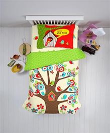 Spaces Kids Single Comforter Save Trees Print - Green Brown