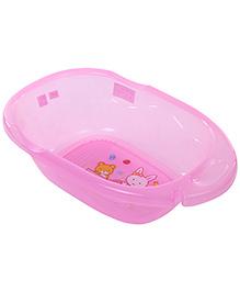 Baby Bath Tub Bear And Rabbit Print - Pink