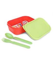 Pratap Plastic Lunch Box With Fork And Spoon - Red And Green