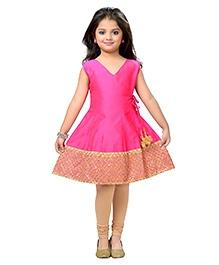 K&U Sleeveless Anarkali And Leggings Set - Pink Beige