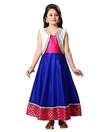 K&U Sleeveless jacket Style Anarkali With Legging Set - Blue Pink