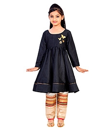 K&U Full sleeves Indowestern Suit Butterfly Broaches - Black Golden