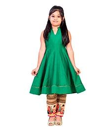 K&U Sleeveless Indowestern Kurti And Straight Pants - Green Golden