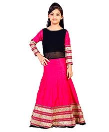 K&U Full Sleeves Anarkali Suit With Velvet Border - Pink Black