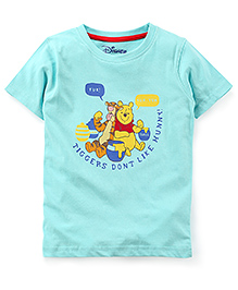 Disney by Babyhug Half Sleeves T-Shirt Pooh Print - Blue