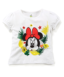 Disney by Babyhug Half Sleeves Top Minnie Mouse Print - White